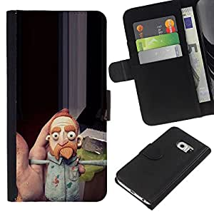 KingStore / Leather Etui en cuir / Samsung Galaxy S6 EDGE / Jusqu'à Comédien Barbe Ginger