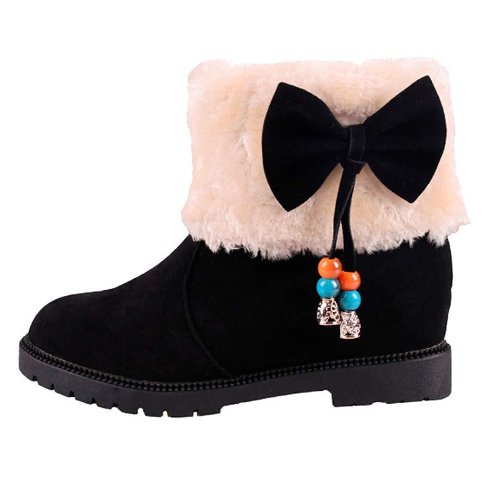 Luckhome Frauen Wildleder Bow Round Toe Wedges Schuhe halten warm Slip-On Schnee Baumwollstiefel, Damen Schuhe Schuhe Damen Schuhe Damen Sommer Damen Schuhe Sommer