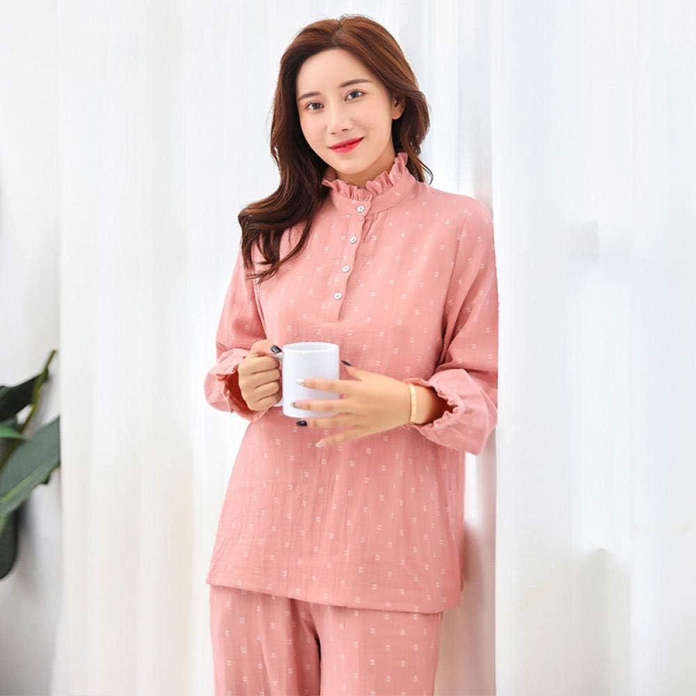 Pijamas Mujer Camisones Algodón se Puede Usar Fuera de Gasa Doble Servicio a Domicilio Collar de Cuello hogar Pijama Femenino-M: Amazon.es: Ropa y accesorios