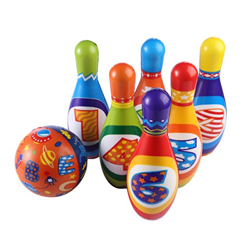 Yamix PU Kids Bowling Play Set, 6 Pins Mini Bowling Set Great Foam Ball Toy Gift for Toddlers Kids Boys Girls by Yamix