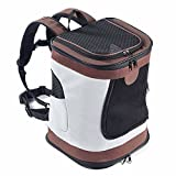 Decoroom Pet Carrier Backpack Mesh Top Opening Soft Sided Pet Backpacks Outdoor Travel Bag for Dogs and Cats Brown