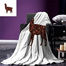 Llama Custom Printed Throw Blanket South American Domestic Animal Silhouette with Swirled Lines Abstract Alpaca Design Velvet Plush Throw Blanket Orange Brown