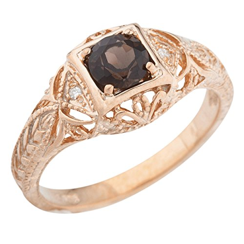 Genuine Smoky Topaz & Diamond Round Ring 14Kt Rose Gold Plated Over .925 Sterling (Diamond Smoky Ring)