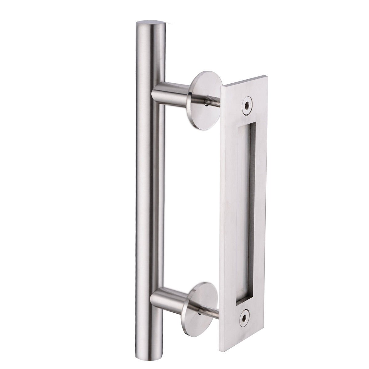 HANEBATH 304 Stainless Steel Pull and Flush Door Handle Set 12'' Sliding or Wood Barn Door with Mount Screws Included,Brushed Nickel
