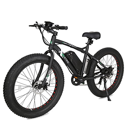 "ECOTRIC Fat Tire Electric Bike Beach Snow Bicycle 26"" 4.0 inch Tire Black Aluminum Ebike Powerful 500W Motor Electric Mountain Bicycle 36V/12AH Lithium Battery... (Black)"