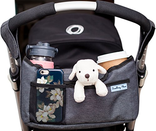 Deluxe Stroller Organizer | Universal Fit, Two Insulated Cup Holders, Lightweight Design | Lifetime 100% Satisfaction Guarantee! (Insulated Stroller Organizer)