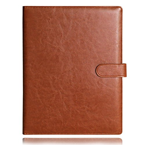 Gunsamg A4 Clipboard Folder Portfolio Multi-functional Faux Leather Sturdy Clip Board Folder for Office Writing Pads Legal Paper (Brown)
