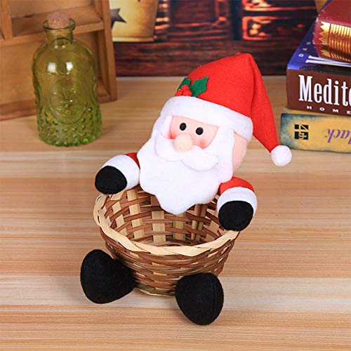 Ocamo Small Merry Christmas Candy Storage Basket for Xmas Table Decoration Children Toy Scene Layout Gift Small Old Man Christmas Halloween