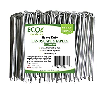 ECOgardener Extra Heavy Duty Galvanized Weed Barrier Landscape Fabric Staples 100 Pack