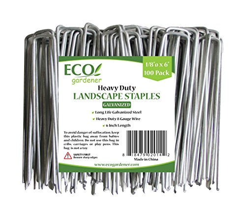 ECOgardener Extra Heavy Duty Galvanized Weed Barrier Landscape Fabric Staples - Ground Cover Landscaping
