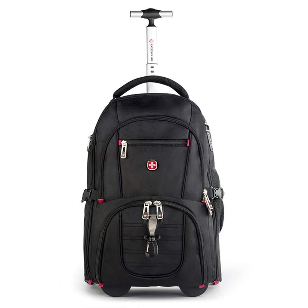 軽量出張旅行ローリングラップトップPCタブレットコンピュータトロリーバックパック、スーツケース手荷物キャビン公認バッグケース (色 : 黒, サイズ さいず : M) M 黒 B07MXHSLQN