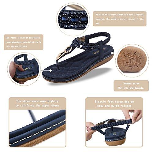 Flops Bleu Sandales En Femme Zoerea Été Pu Bohemia Foncé Flip Chaussures Cuir Flat FzawfwPxq