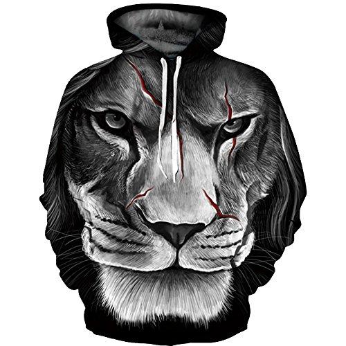 Lion Lunghe 3D Cool Maniche Felpe cappuccio Felpe stampato con Unisex OYABEAUTYE wHqnAzT
