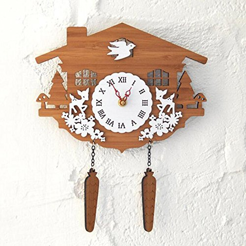 - HAIT Wall Clock Bamboo Wooden Clocks Forest Chalet Cuckoo Wall Decoration Pastoral Style Creativity Pendant Ornaments Living Room Offices