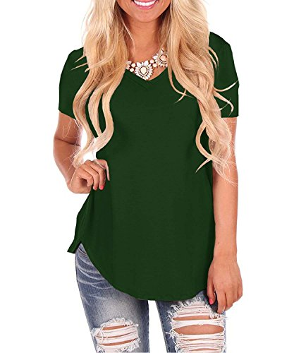 (Doris Women's Casual Tunic Top Short Sleeve V-Neck Sweatshirt Basic Tees Tops Blouse Green S)