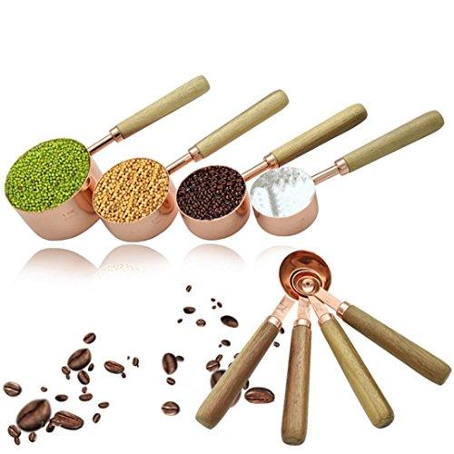 UMFun Rose Gold Log Handle Measuring Spoon&Cup Round Head Baking Tool