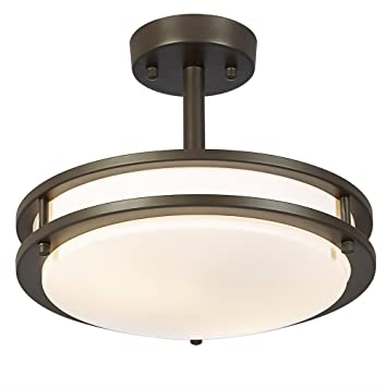SOTTAE 13W 60W Equivalent 2 Lights Bronze Finish Tempered Acrylic Flush Mount Ceiling Light