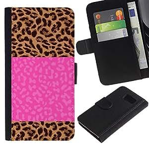 iBinBang / Flip Funda de Cuero Case Cover - Electric Jolt Lightning Pink Text - Samsung Galaxy S6 SM-G920