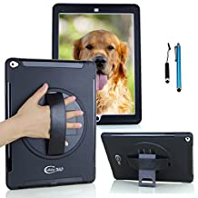 Apple iPad Air 2 Shockproof Case with 360 Degrees Swivel Stand and Hand Grip Leather Belt (Apple iPad Air 2, Handheld Case-Black)