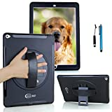 Cellular360 Shockproof Case for Apple iPad Pro 12.9 (1st Gen. Released in 2015, 2nd Gen. Released in 2017), Rugged Case with a 360 Degree Rotatable Kickstand and a Handle (Black)
