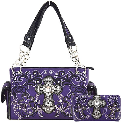Western Style Rhinestone Cross Embroidery Floral Leather Handbags Women Totes Country Purse Wallet Purple