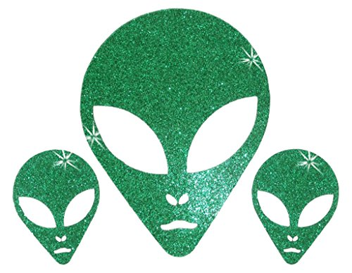 Halloween Costumes Fabric (3x Green Glitter Alien ET Face Iron-on Fabric T-Shirt Halloween Transfer Applique)