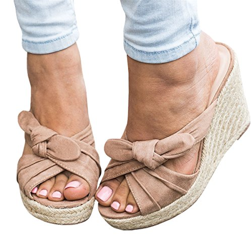 drille Slides Wedge Sandals Tie Knot Slip on Platform Wedges Flip Flops (8 B(M) US-EU Size 39, Nude) (Espadrille Slides Sandals Shoes)