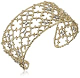 Alexis Bittar Medium Crystal Studded Spur Lace Gold Tone Cuff Bracelet