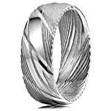 Three Keys Jewelry 8mm Damascus Steel Mens Wedding Ring Domed Wood Grain Gold Liner Damascus Steel Wedding Band Engagement Ring Size 9.5