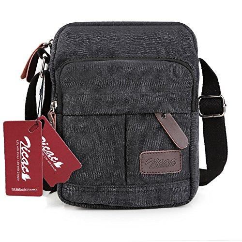 Zicac Men's Retro Small Canvas Cross Body Messenger Bags Satchel Bag (6.88'* 8.26'*3.93'(L*H*W), Black)