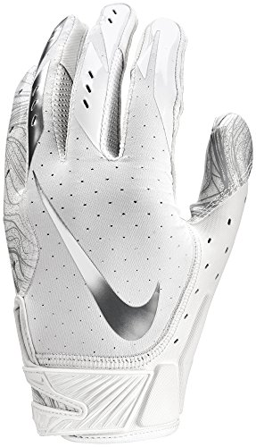 Nike Men's Vapor Jet 5.0 Football Gloves White/Chrome (White/Chrome, Large)
