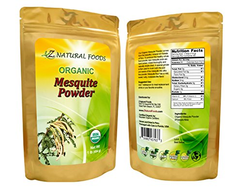 USDA Certified Organic Mesquite Powder (Flour) - All-natural, Fresh, Raw, Vegan, Non-GMO, Chemical-free (1 lb)