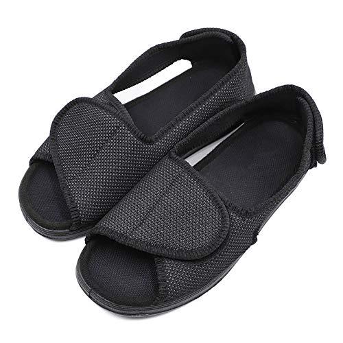 (Women's Adjustable Open Toe Sandals, Extra Wide Width Diabetic Recovery Slippers for Arthritis Edema Swollen Feet Elderly Black)