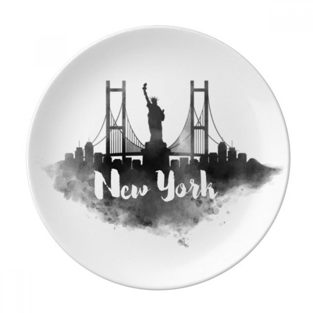 New York America LandMark Ink City Painting Dessert Plate Decorative Porcelain 8 inch Dinner Home