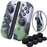 YoRHa Hand grip Silicone Cover Skin Case x 2 for Nintendo Switch/NS/NX Joy-Con controller (camouflage green) With Joy-Con thumb grips x 8 For Sale
