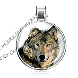 Chees D Zone Glass Cabochon Necklace Cool Wolf Couple Wolf Jewelry Loyalty Wolves Handmade Glass Dome Pendant Jewelry