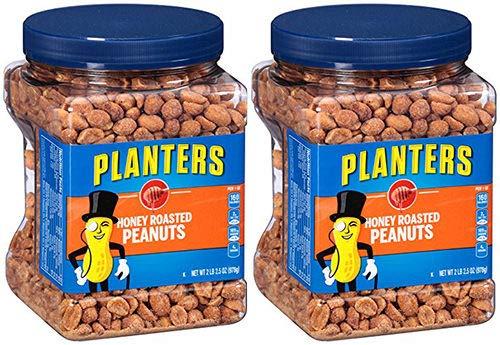 Planters Honey Roasted Peanuts, 34.5 Ounce, 4 Tubs