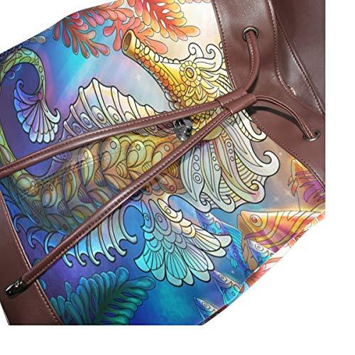 Sjöhäst ryggsäck handväska mode PU-läder ryggsäck ledig ryggsäck för kvinnor