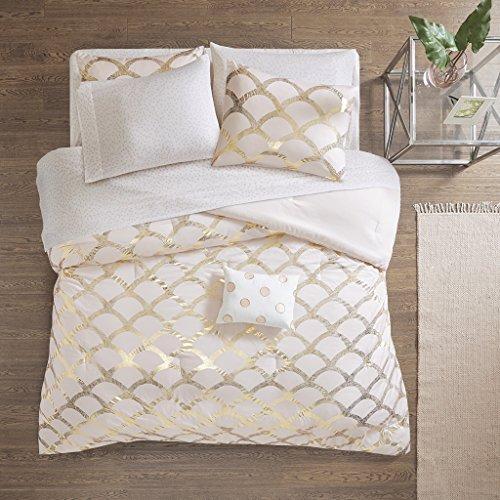 (Intelligent Design Lorna Metallic Print Mermid Scale Scallop Polka Dots Ultrasoft Microfiber Comforter and Sheet Set Bag Bedding, Queen Size, Blush 8 Piece)