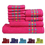 Ultra soft, absorbent and rich towel for your essential bath collection. Made of 100 percent cotton with viscose border for decoration, they make a perfect wrap when you step out of the shower. Pre-washed fabric ensures the colours do not fad...