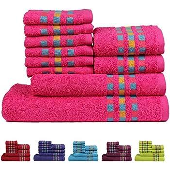 Trident Magic West Combed Cotton 10 Pieces (Bath, Hand U0026 Wash Cloth)