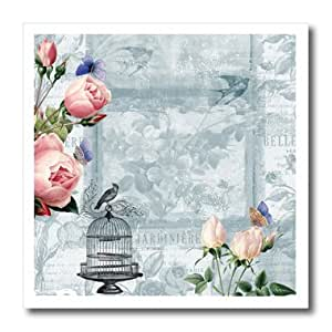ht_123582_2 PS Vintage - Roses and Bird Cage Vintage floral - Iron on Heat Transfers - 6x6 Iron on Heat Transfer for White Material
