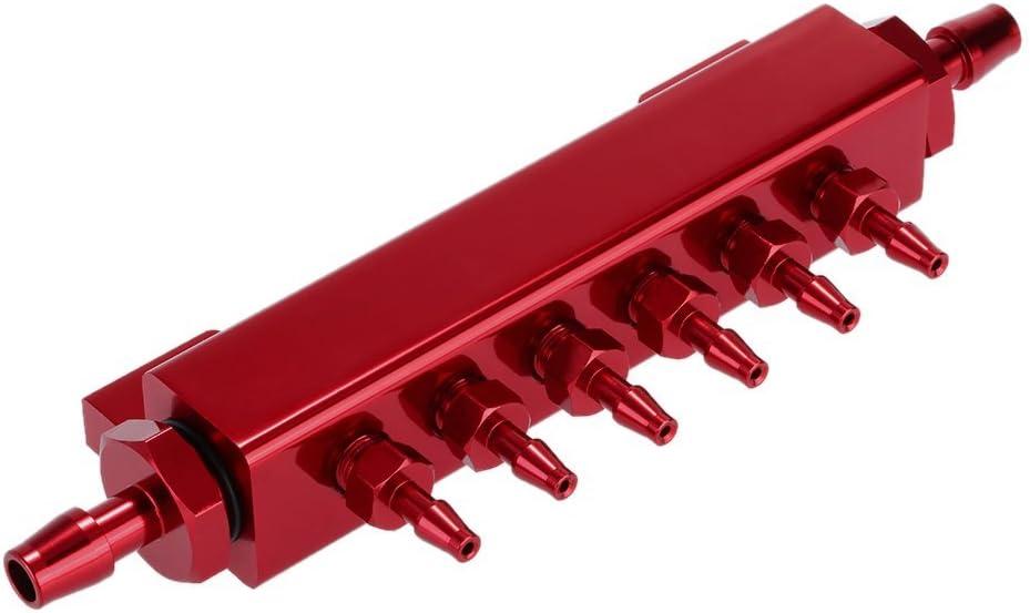 Aluminum Alloy Vacuum Manifold Kits 6 Port 1/8 NPT Turbo Wastegate Boost Block Intake Manifold Universal Modification Accessory (Red)
