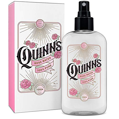 (Quinn's Rose Water Spray. Facial Toner Mist with Pure Rosewater. Alcohol Free Moisturizer and Skincare for Face, Hair and more. 8oz)