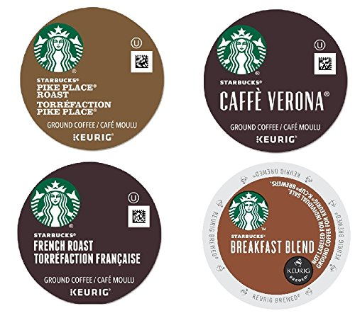 Starbucks Pike Place Roast,French Roast,Breakfast Blend,Verona K-Cup Packs, 96-count (Variety Pack (96 Count))