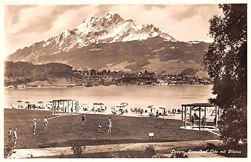 (Luzern Strandbad Lido mit Pilatus Switzerland Postcard)