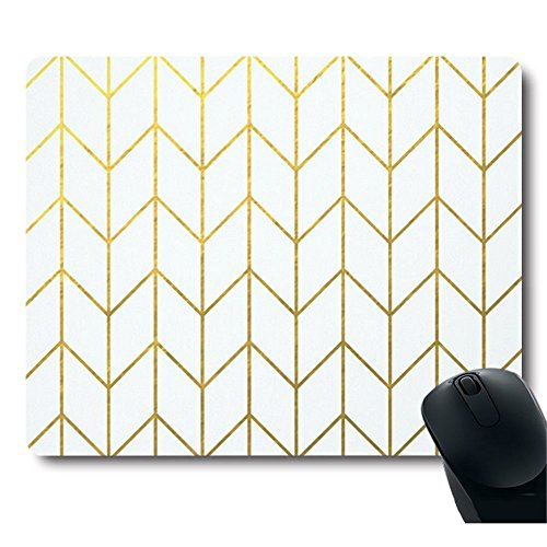 Gold Yellow Chevron White Background Modern Chic Mouse (Best Designer Mouse Pads)