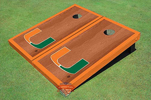University of Miami Orange Rosewood Matching Border Borders Cornhole Boards by All American Tailgate (Image #2)