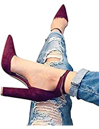 Womens Chunky Ankle Strappy Sandal Pointed Toe High Heels