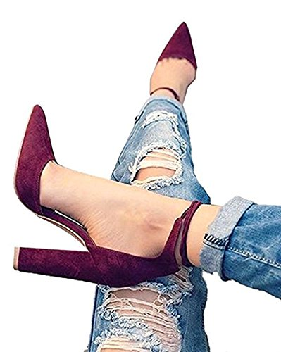 Huiyuzhi Womens Chunky Ankle Strappy Sandal Pointed Toe High Heels (7.5 B(M) US, Wine Red)